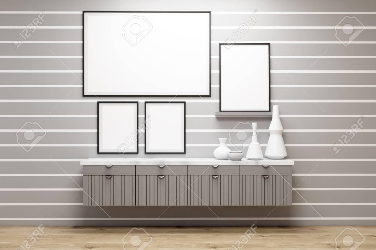 Galería De Cartel En Una Habitación Con Rayas Blancas En La Pared ...