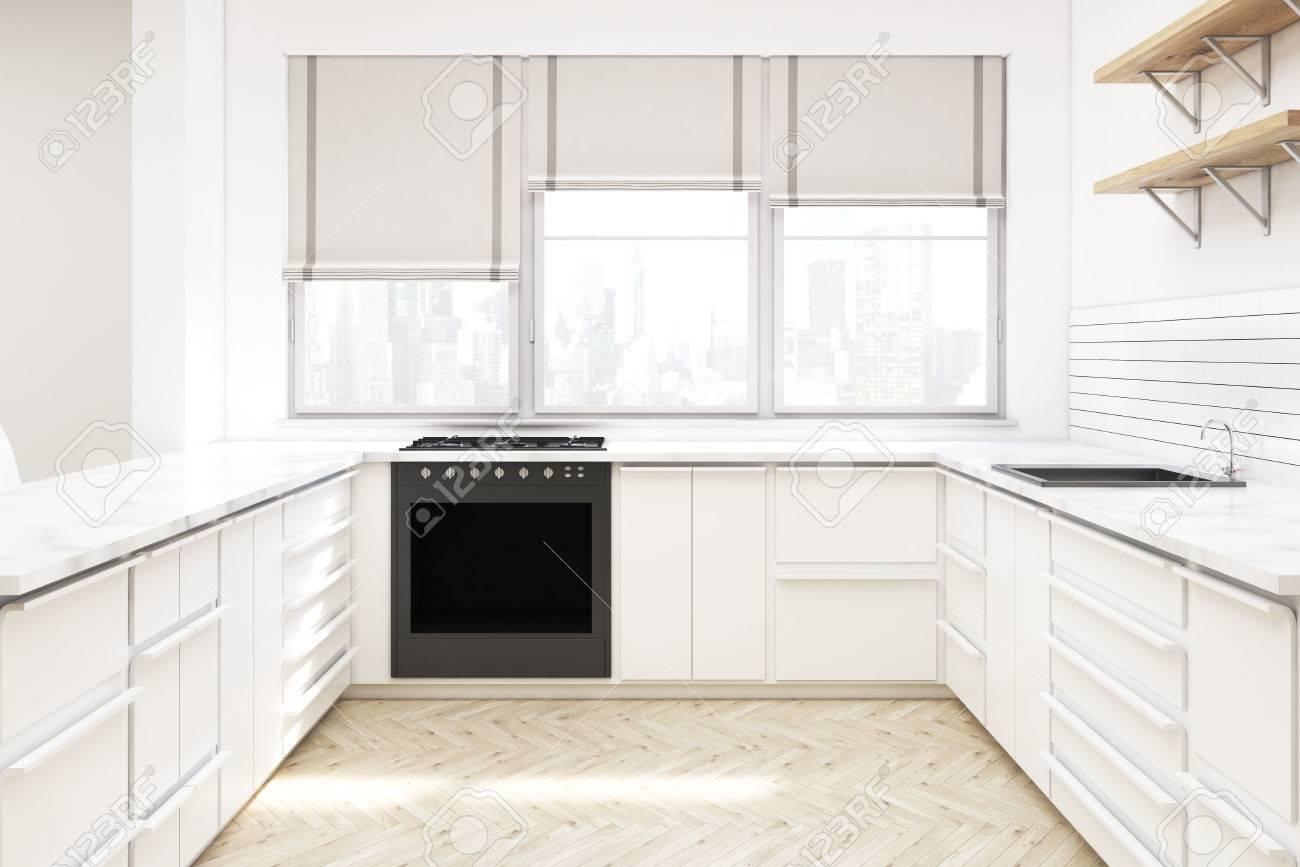 Intérieur de cuisine avec meuble blanc, étagères en bois sur le mur,  comptoirs, four et fenêtres avec nuances. Rendu 3D. Maquette