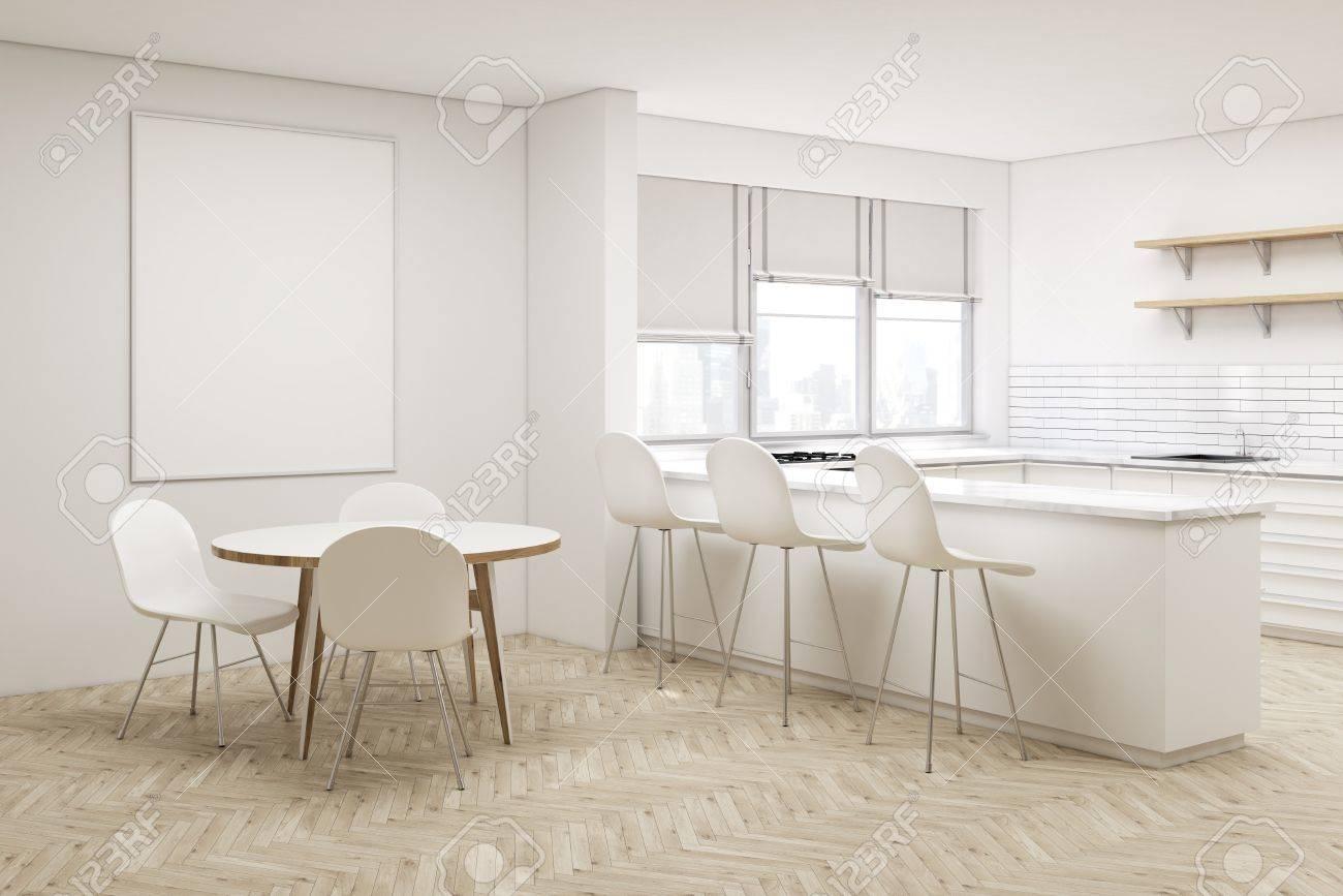 Esquina De La Cocina Blanca Con Una Mesa Redonda Un Cartel Vertical