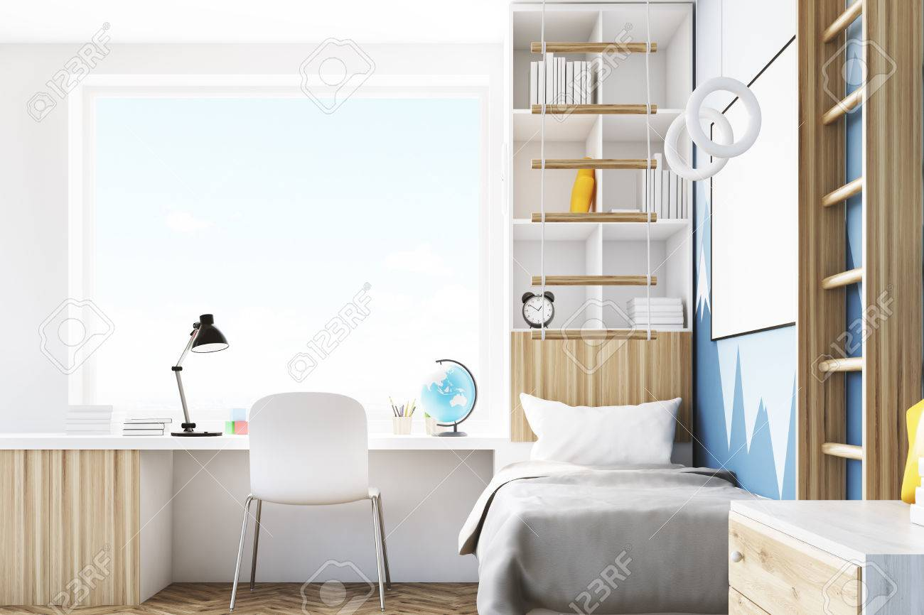 Side View Of A Kid s Room With A Bed A Bookcase And A Table