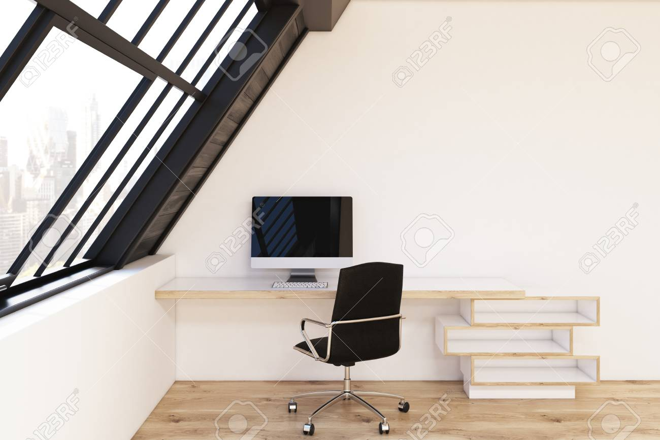 Front View Of A Home Office In The Attic. There Is A Wooden ...