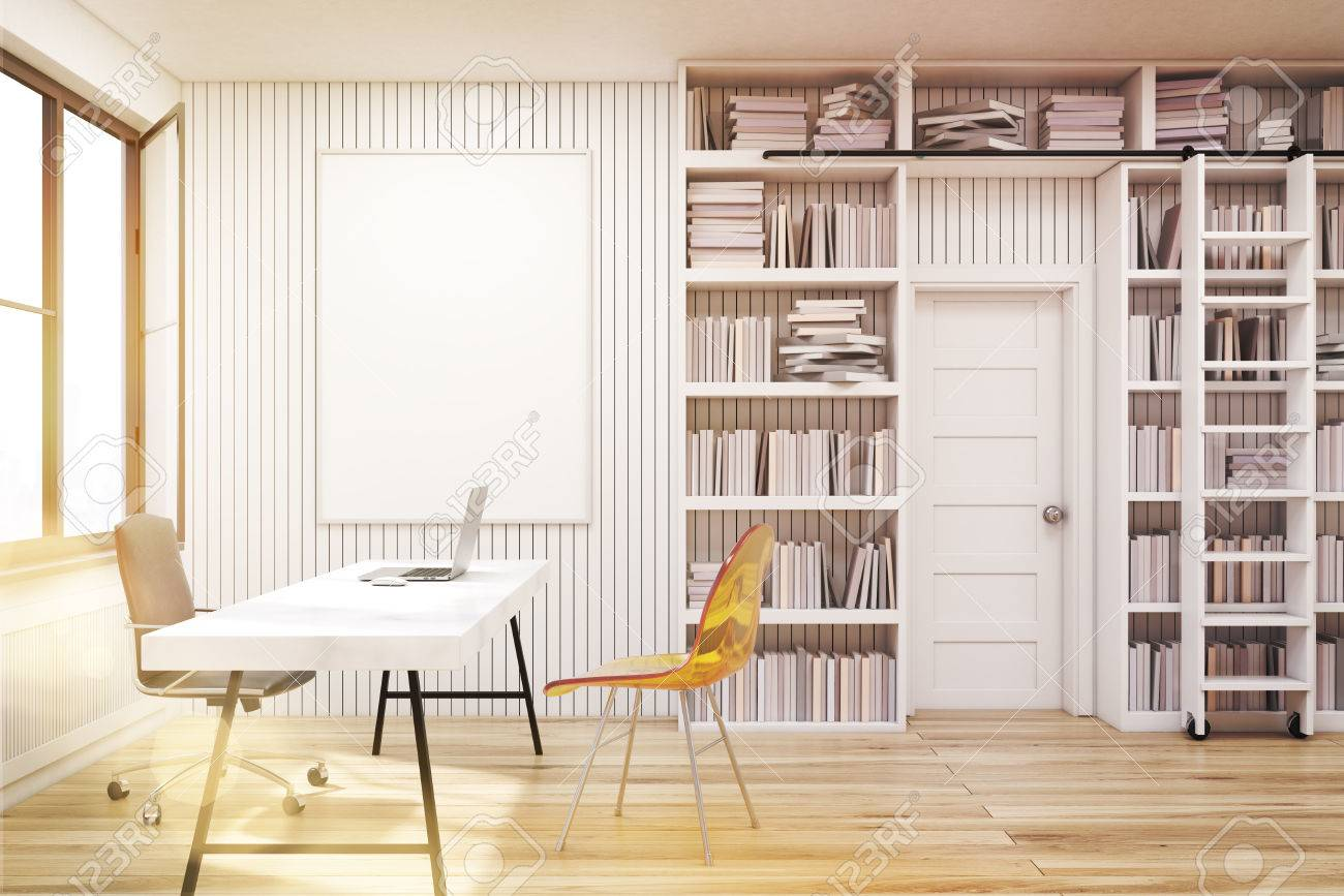 Home Library With Bookshelves By The Sides Of A Door And A White ...