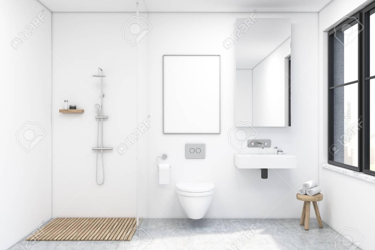 Intérieur de la salle de bain avec douche, toilettes et lavabo. Il y a une  grande fenêtre et un grand miroir sur un mur. Rendu 3d. Maquette.