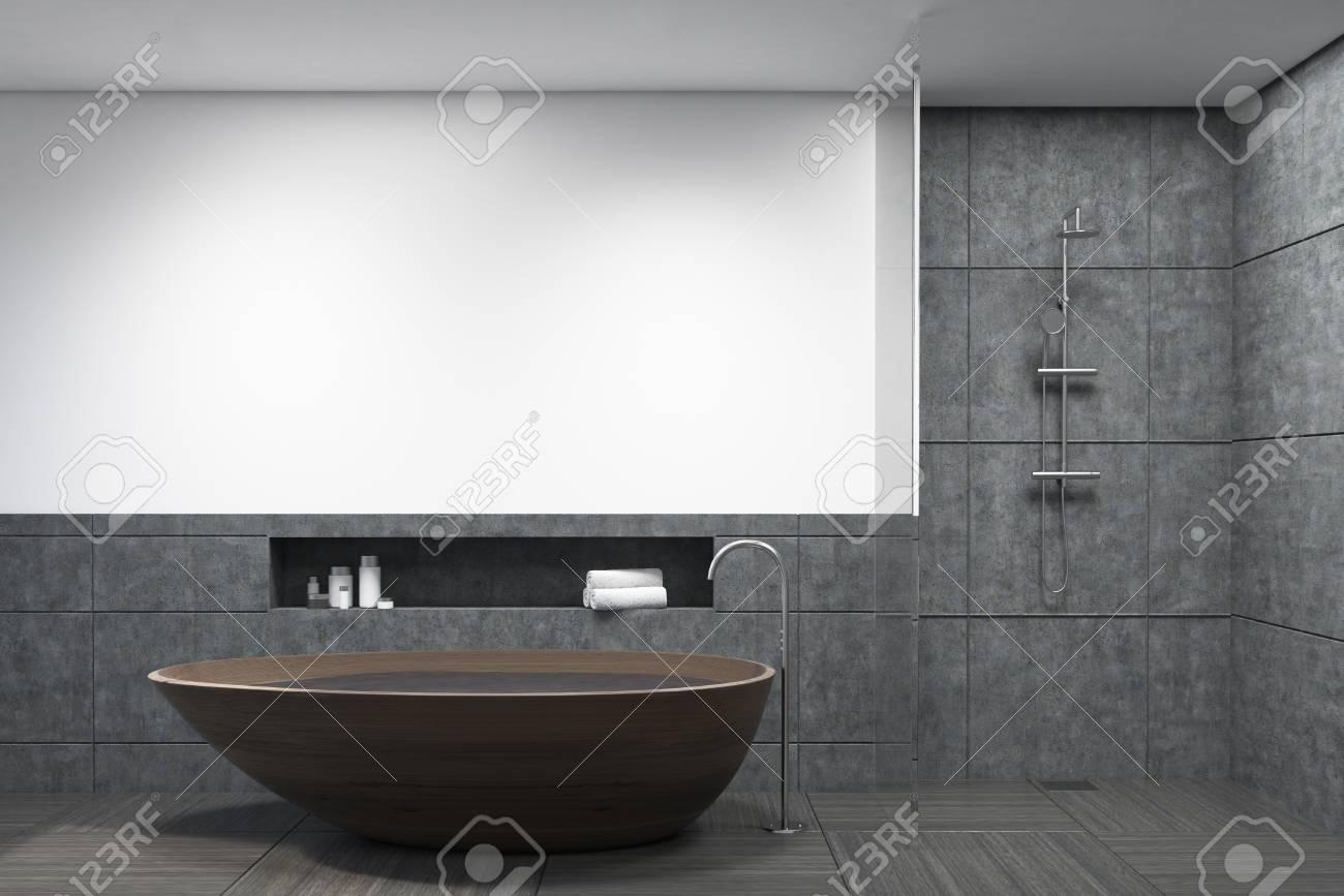 Dark Gray Tiles Bathroom Interior With A Wooden Bathtub And A ...