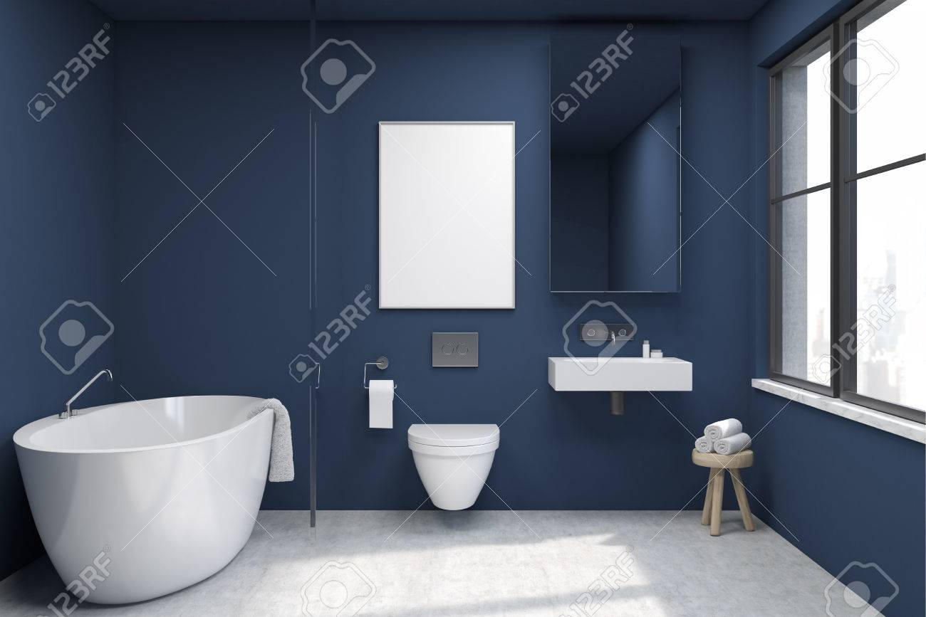 Front View Of A Bathroom Interior With A Tub, A Toilet And A.. Stock ...