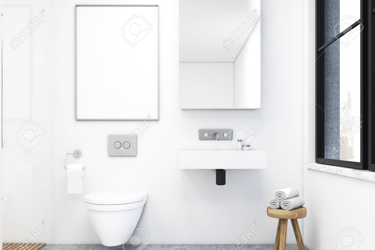 Primo piano di un bagno bianco. cè un lavandino con un grande