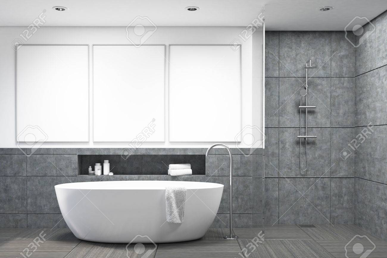Dark Gray Tiles Bathroom Interior With A White Bathtub And Three ...