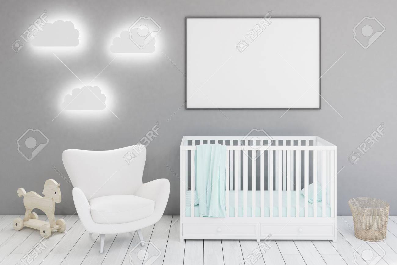 Kinderzimmer Mit Einer Krippe, Einem Weißen Sessel, Einem Pferd ...
