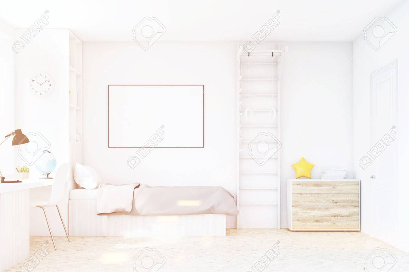 Child Room With A Bed With Gray Bedspread A Square Window A