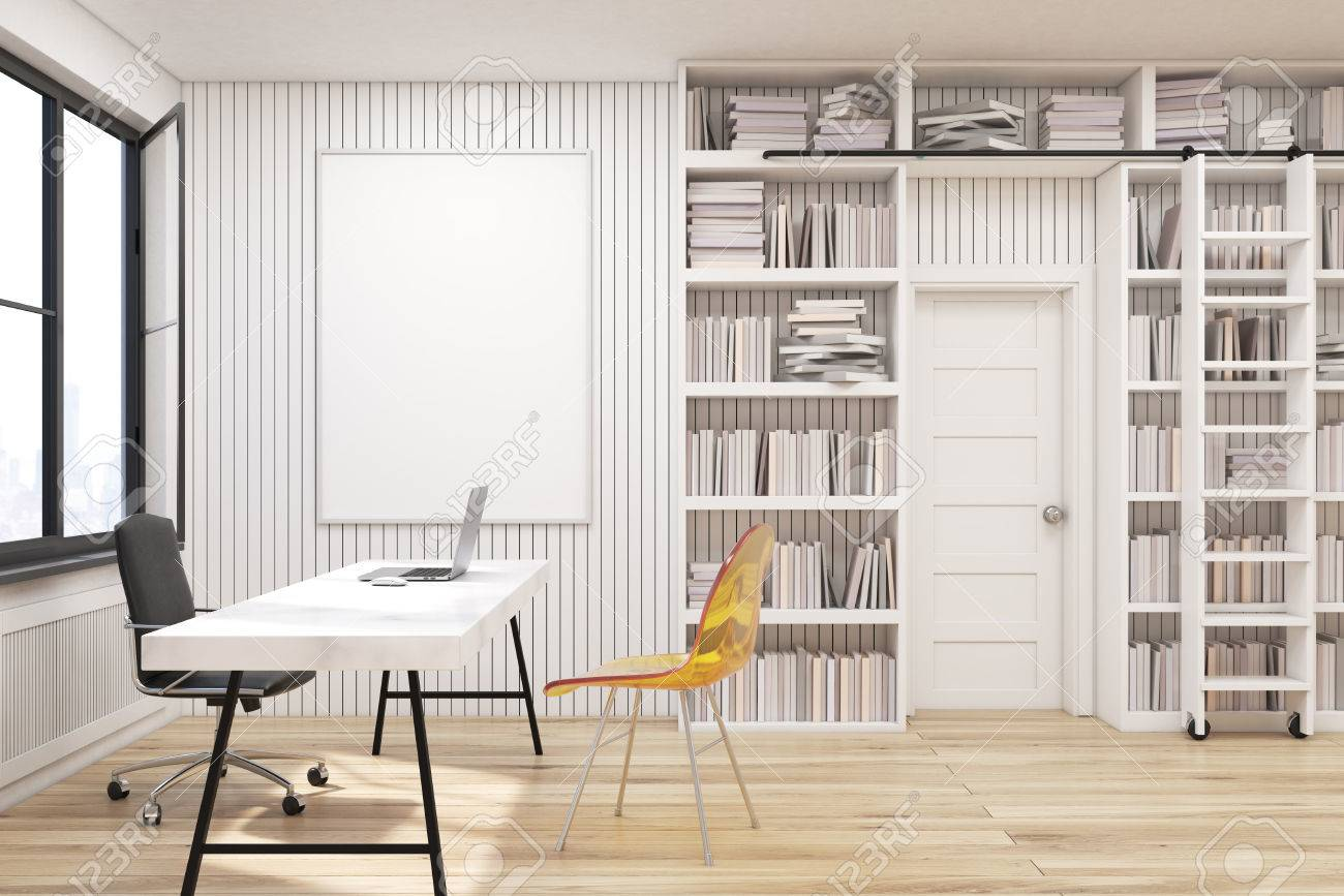 Home library with bookshelves by the sides of a door and a white..