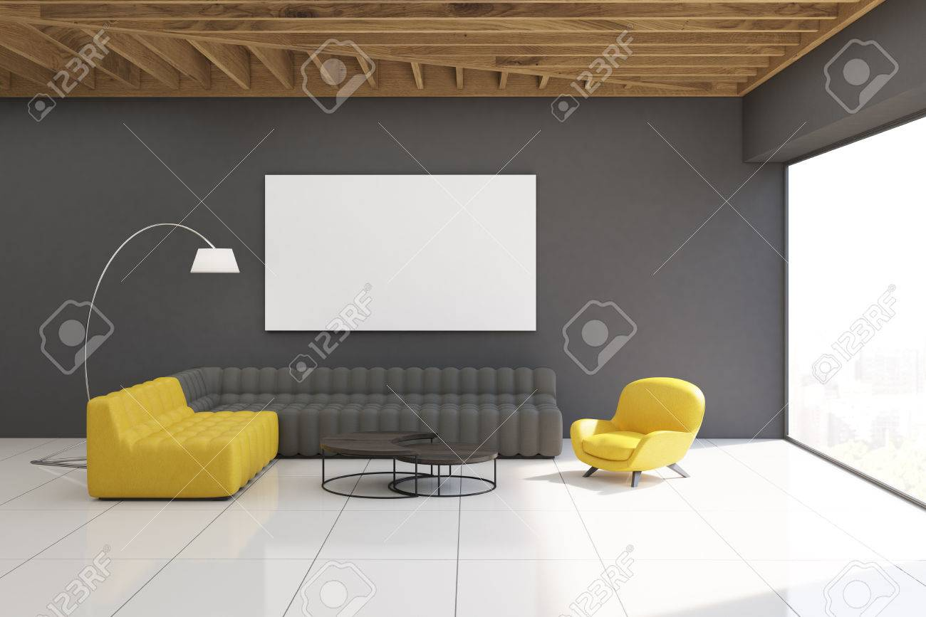 Gray Living Room Interior With Yellow And Sofas Walls Large Panoramic Window
