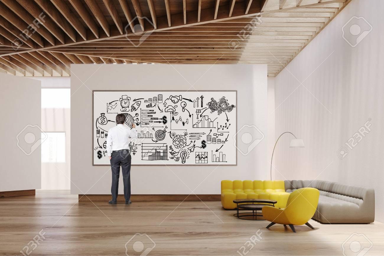 Weisses Wohnzimmer Interieur Mit Gelben Und Grauen Sofas Weisse Wande