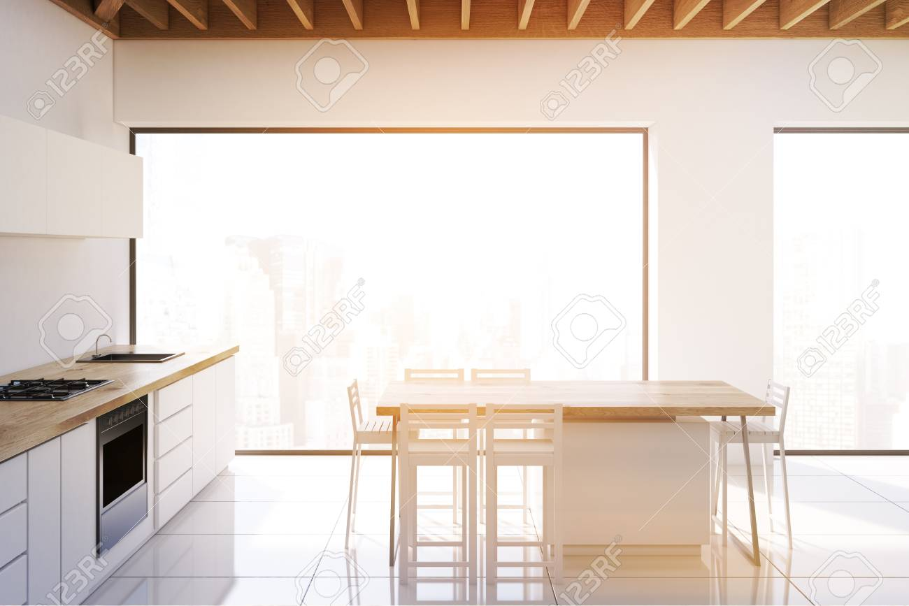 Modern Interieur Wit : Side view of a modern kitchen interior with white walls panoramic