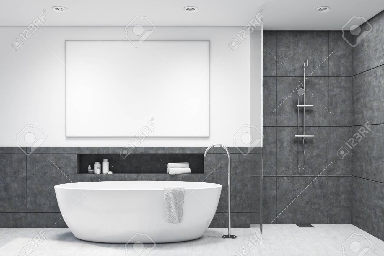 Salle De Bain Foncee ~ int rieur de salle de bains en tuiles gris fonc avec une baignoire