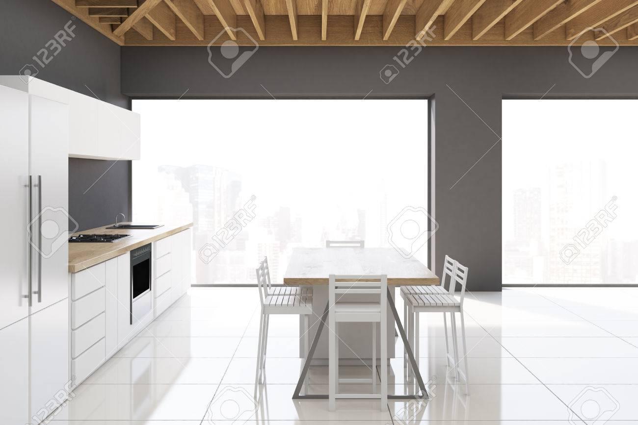 Vista Lateral De Un Moderno Interior De Cocina Con Paredes De Color ...