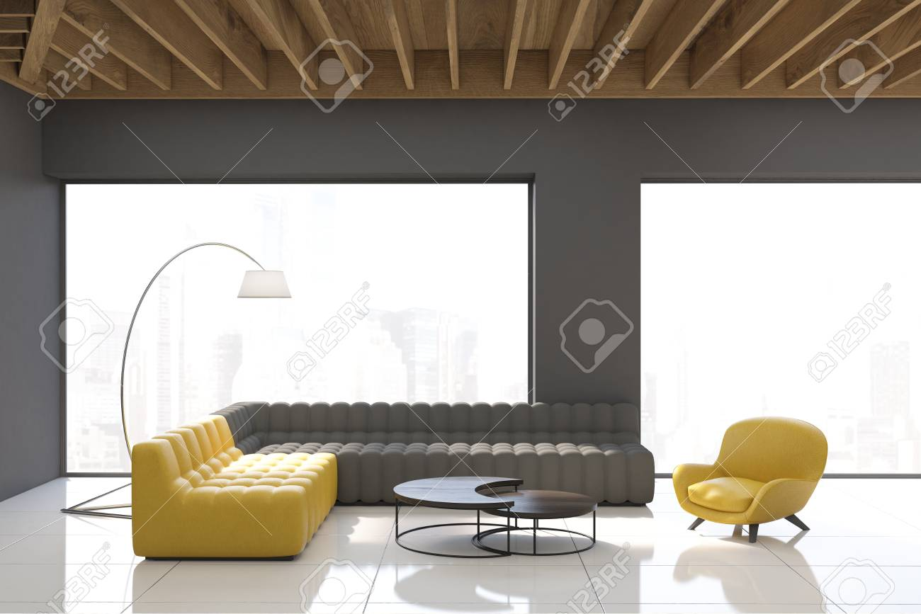 Gray Living Room Interior With Panoramic Windows, White Walls ...