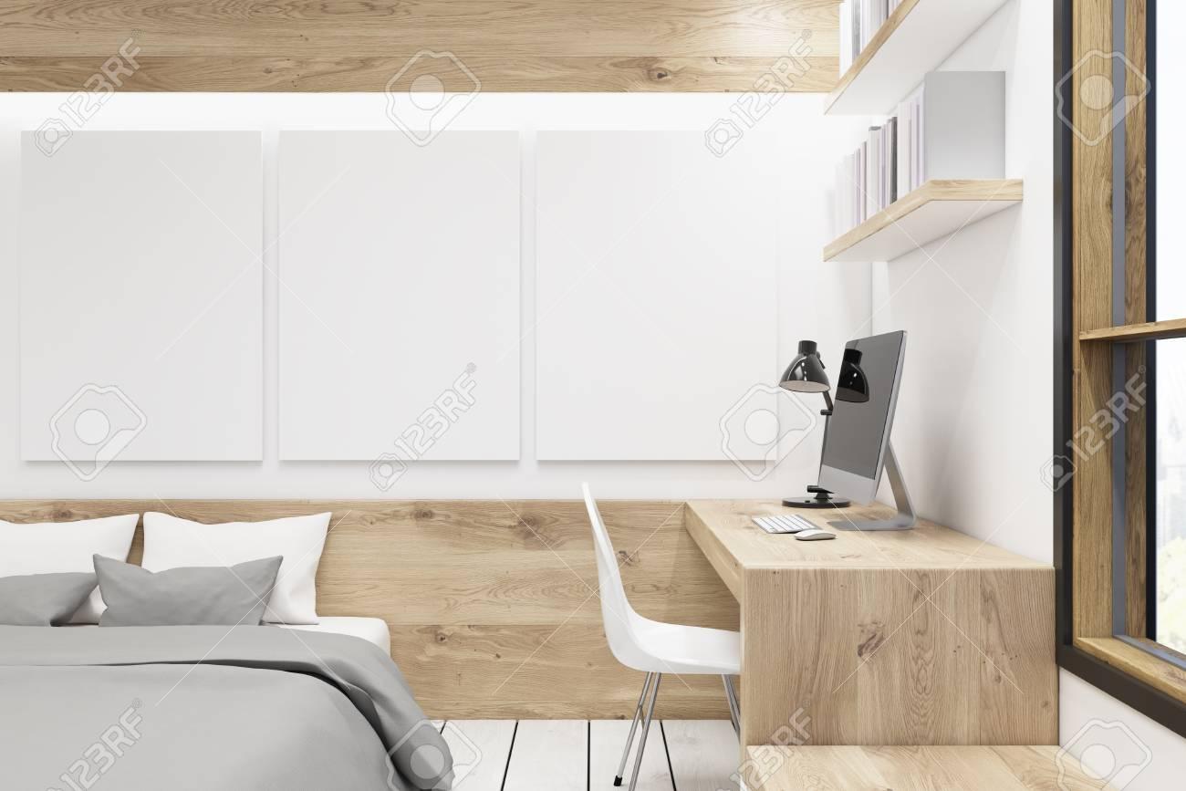 Interno camera da letto con una galleria di foto. C\'è un tavolo di legno,  due librerie e tre grandi poster verticali appesi al muro. Rendering 3D, ...
