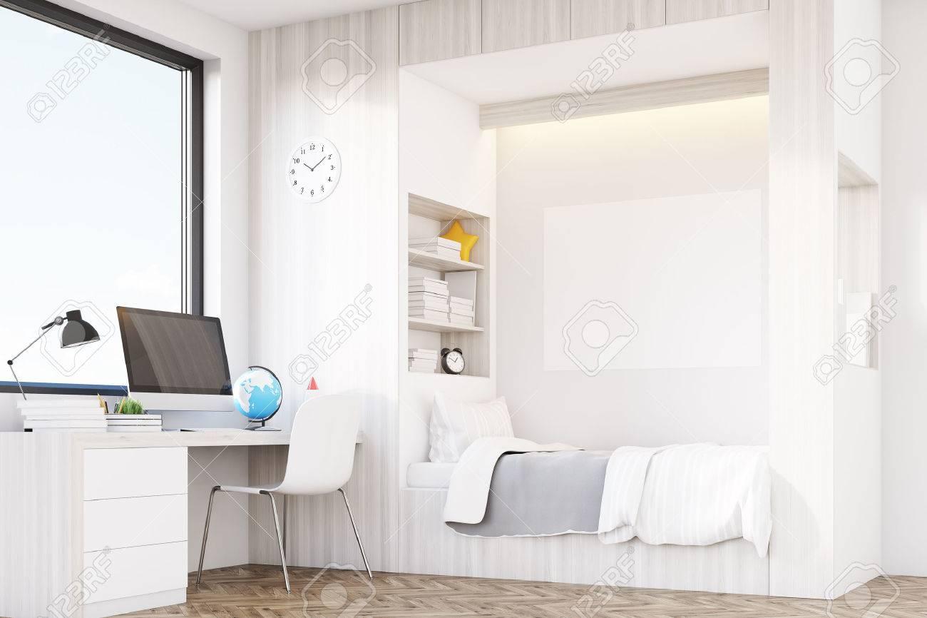 chambre moderne d'un enfant avec un lit, une bibliothèque intégrée à