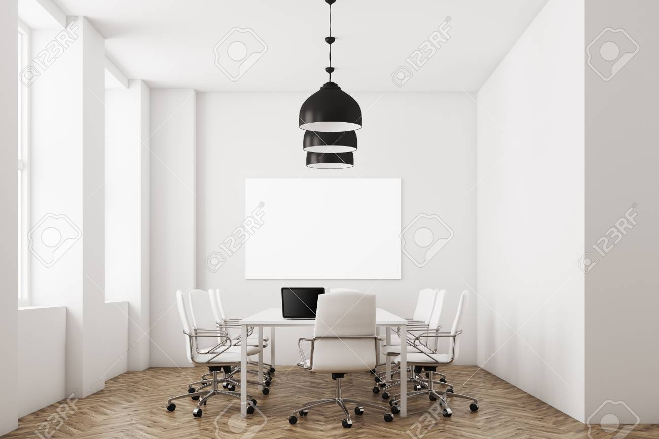 White Conference Room Interior With White Furniture A Computer - Large white conference table