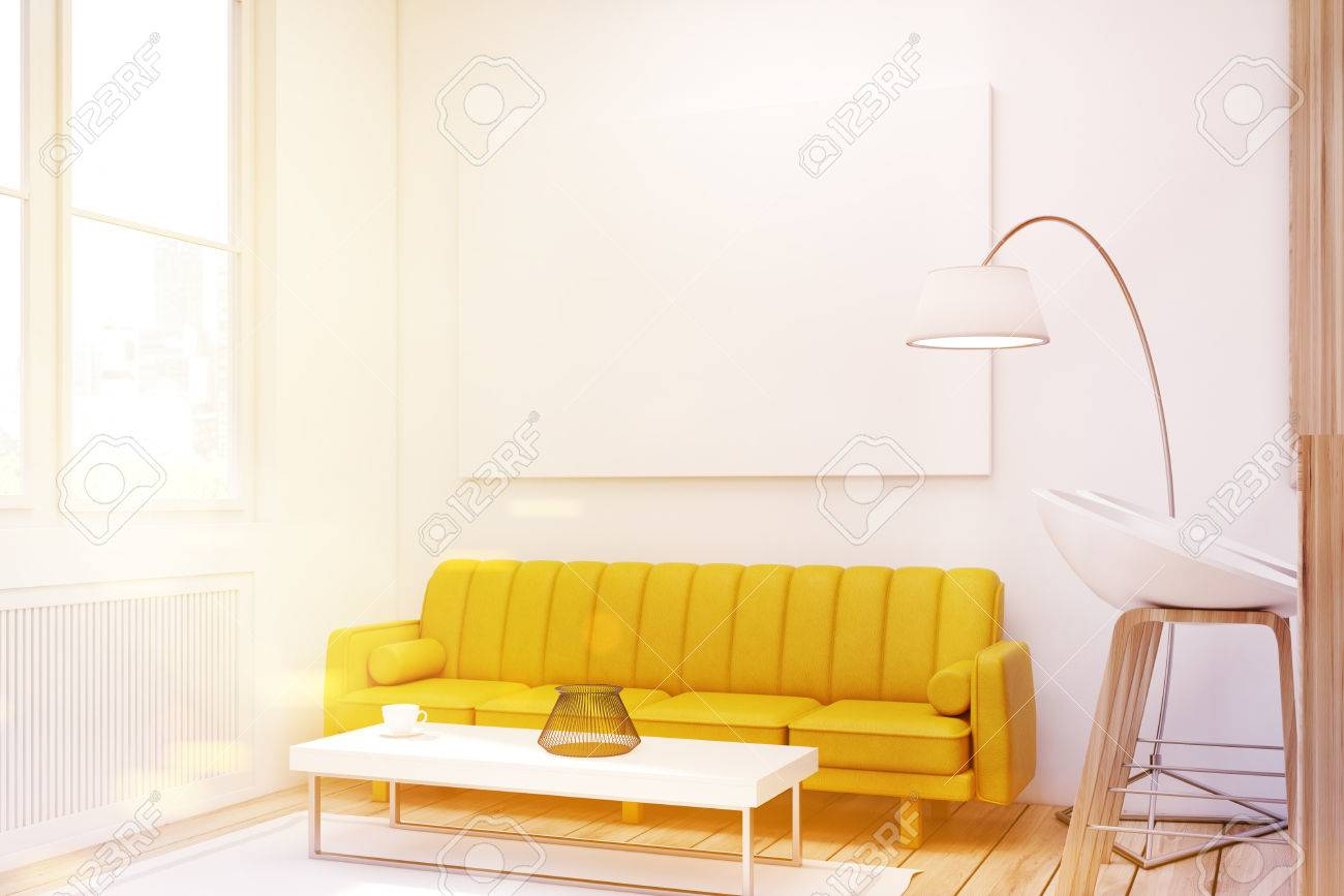 Close Up Of A Living Room Interior With A Yellow Sofa, A Bar.. Stock ...