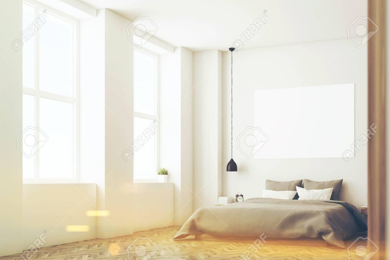 Ecke Des Schlafzimmers Innenraum Mit Einem Doppelten Bett Graue