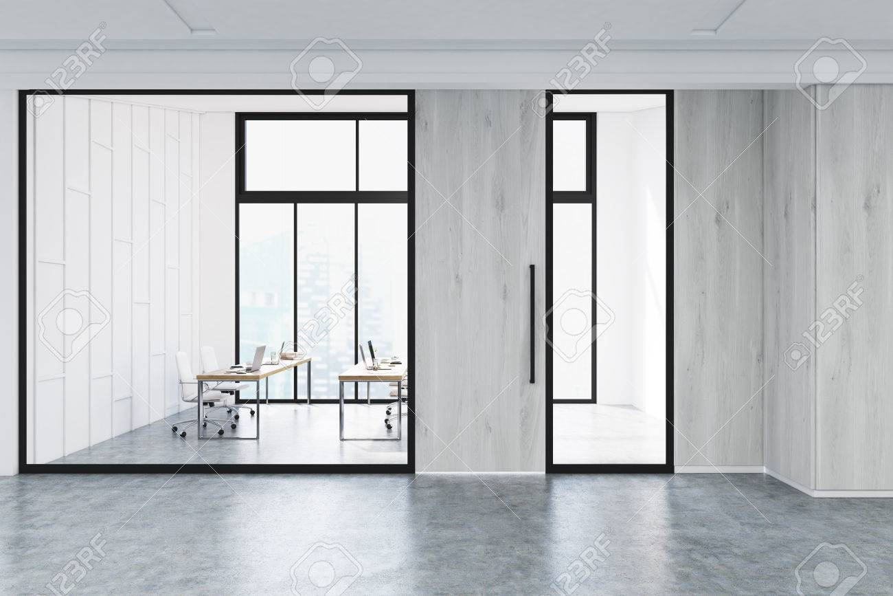 Modern Office Lobby Interior With A Meeting Room With Glass Walls