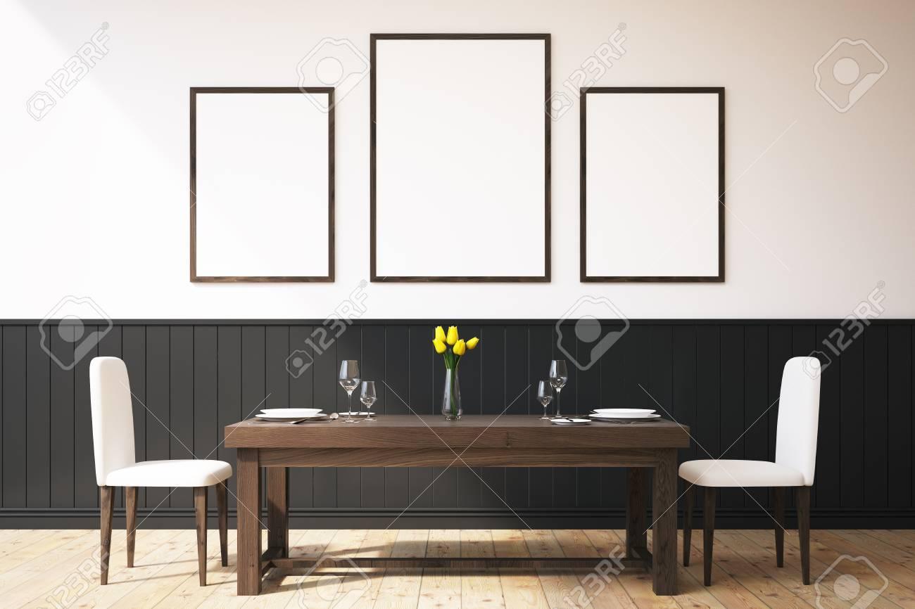 Comedor interior. son una mesa grande con dos sillas y una galería de fotos  dentro de él representación 3d
