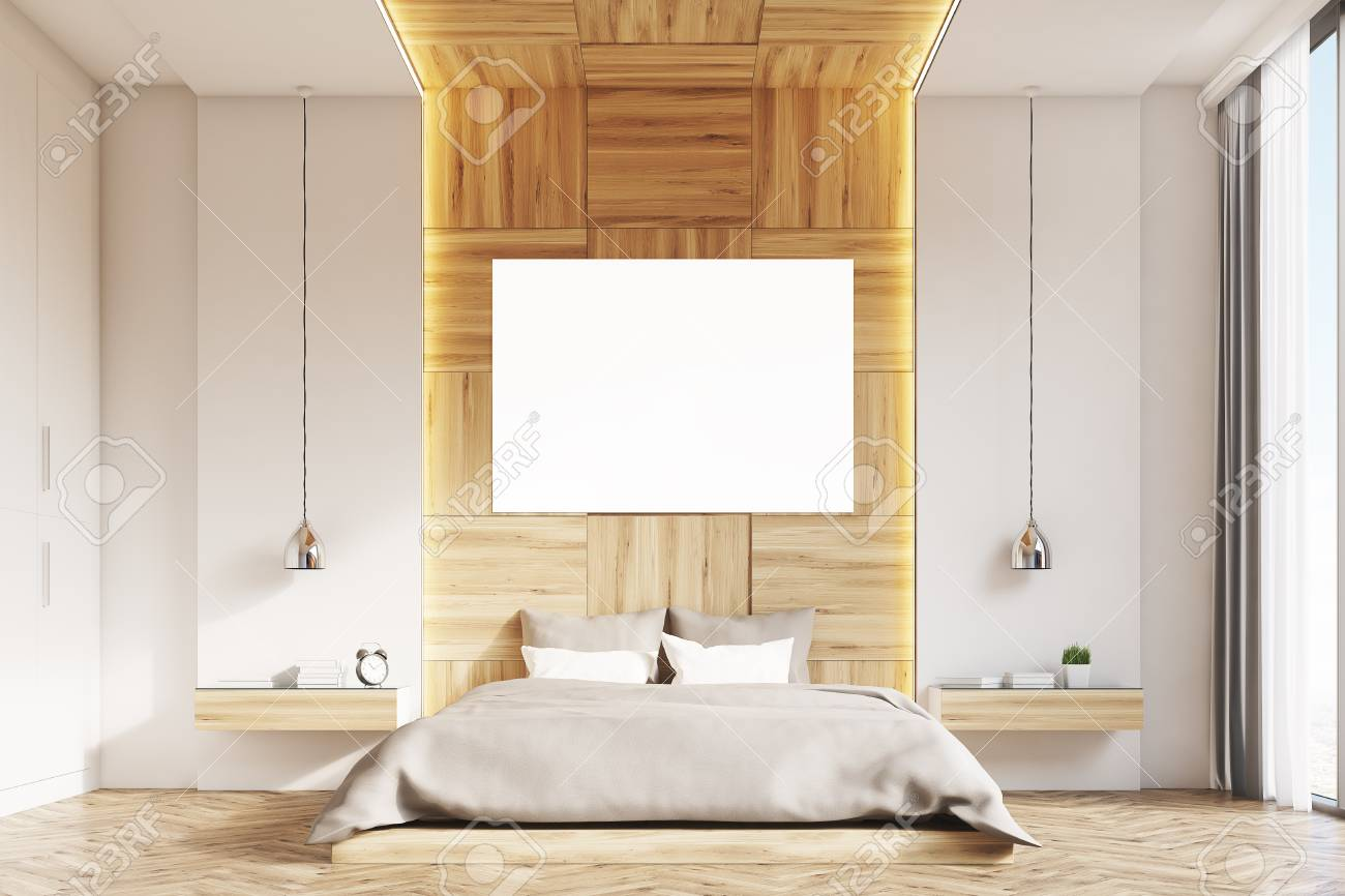 Camera Da Letto Legno Chiaro : Davanti linterno di una camera da letto con pareti in legno chiaro