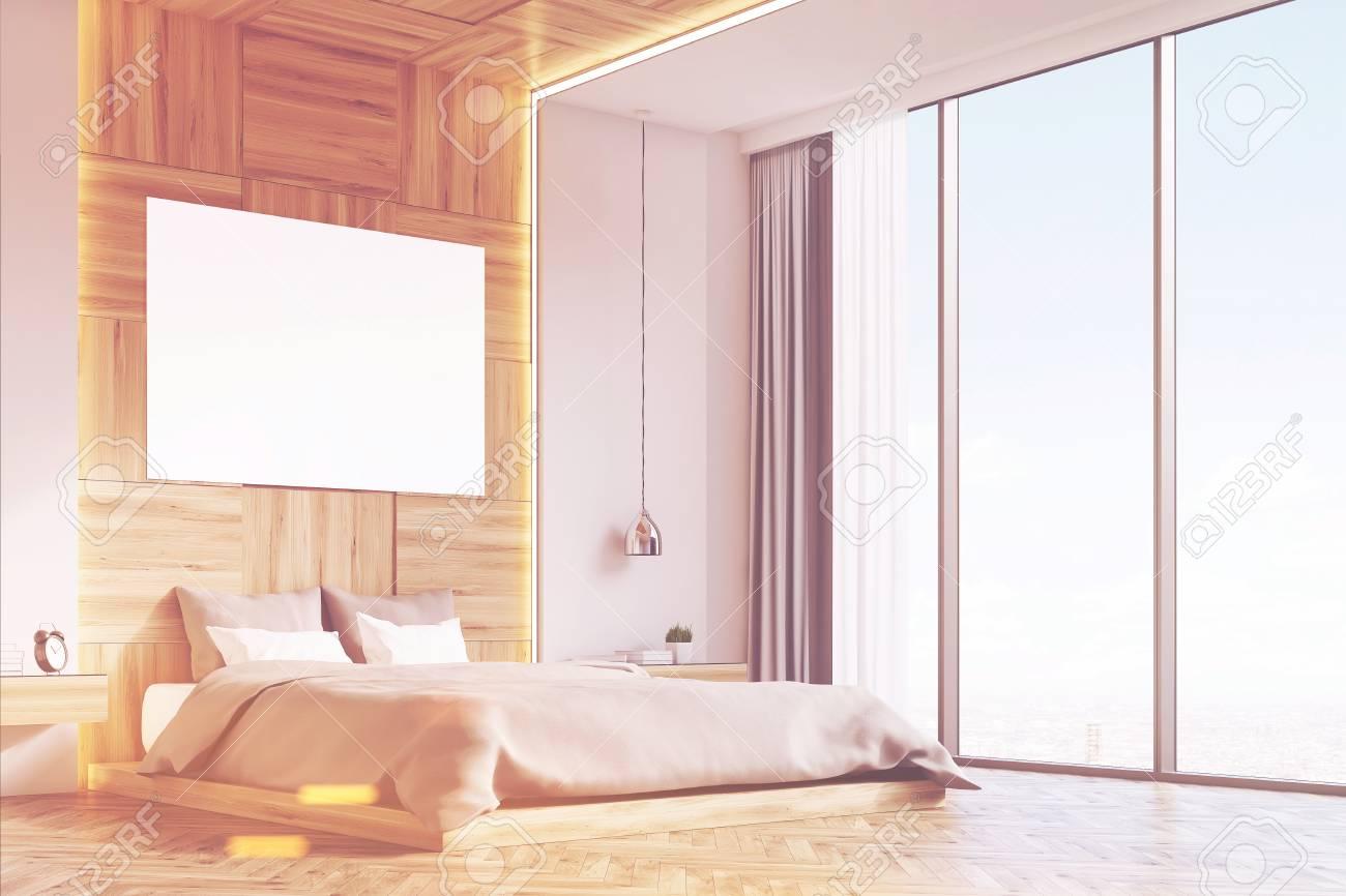 Camera Da Letto Legno Chiaro : Angolo di un interno camera da letto con pareti in legno chiaro e un