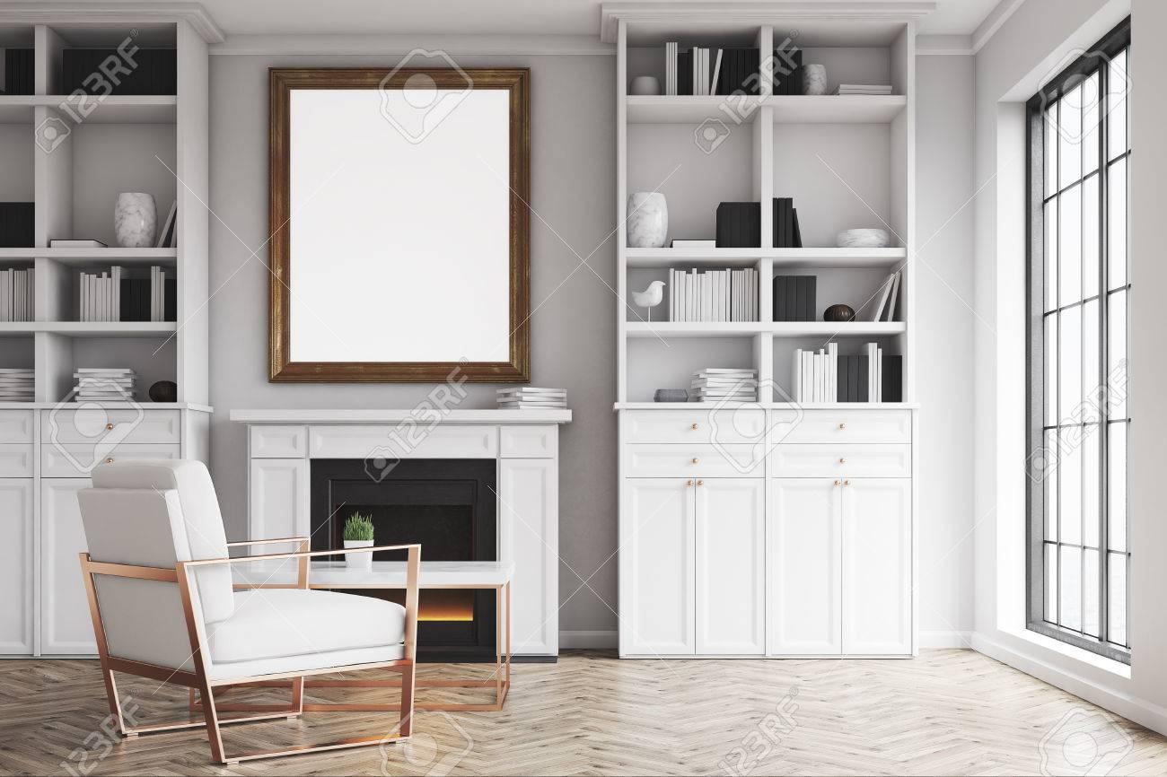 Wohnzimmer Innenraum Mit Weißen Wänden, Kamin Und Sessel. Es Gibt ...
