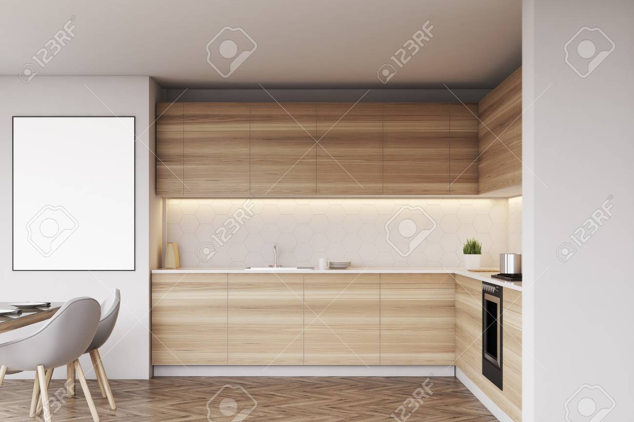 Interior de la cocina con un cartel vertical, muebles de madera clara y  sillas grises. Representación 3D, maqueta