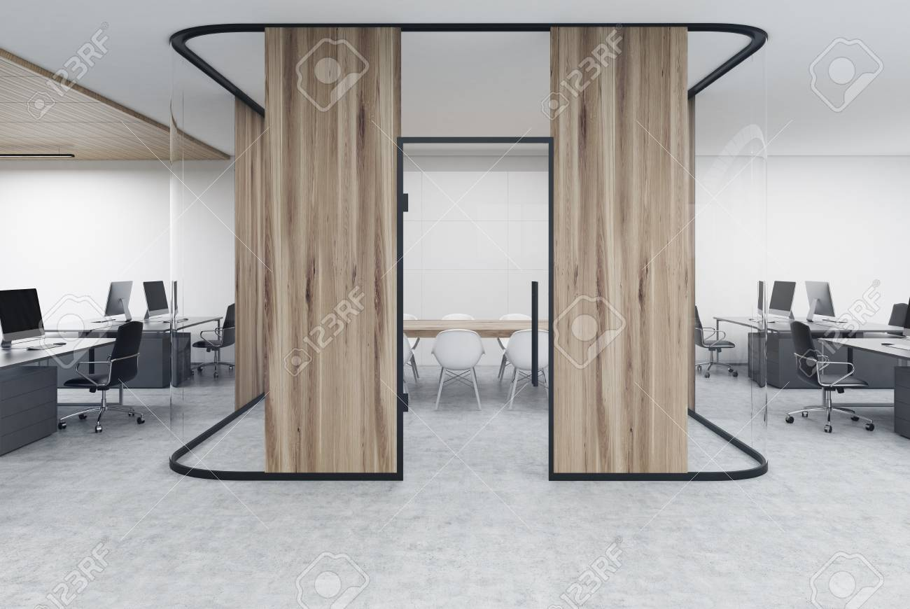 office desk aquarium. Open Office With A Wooden Aquarium Conference Room Inside. Concept Of Modern Workplace Desk I
