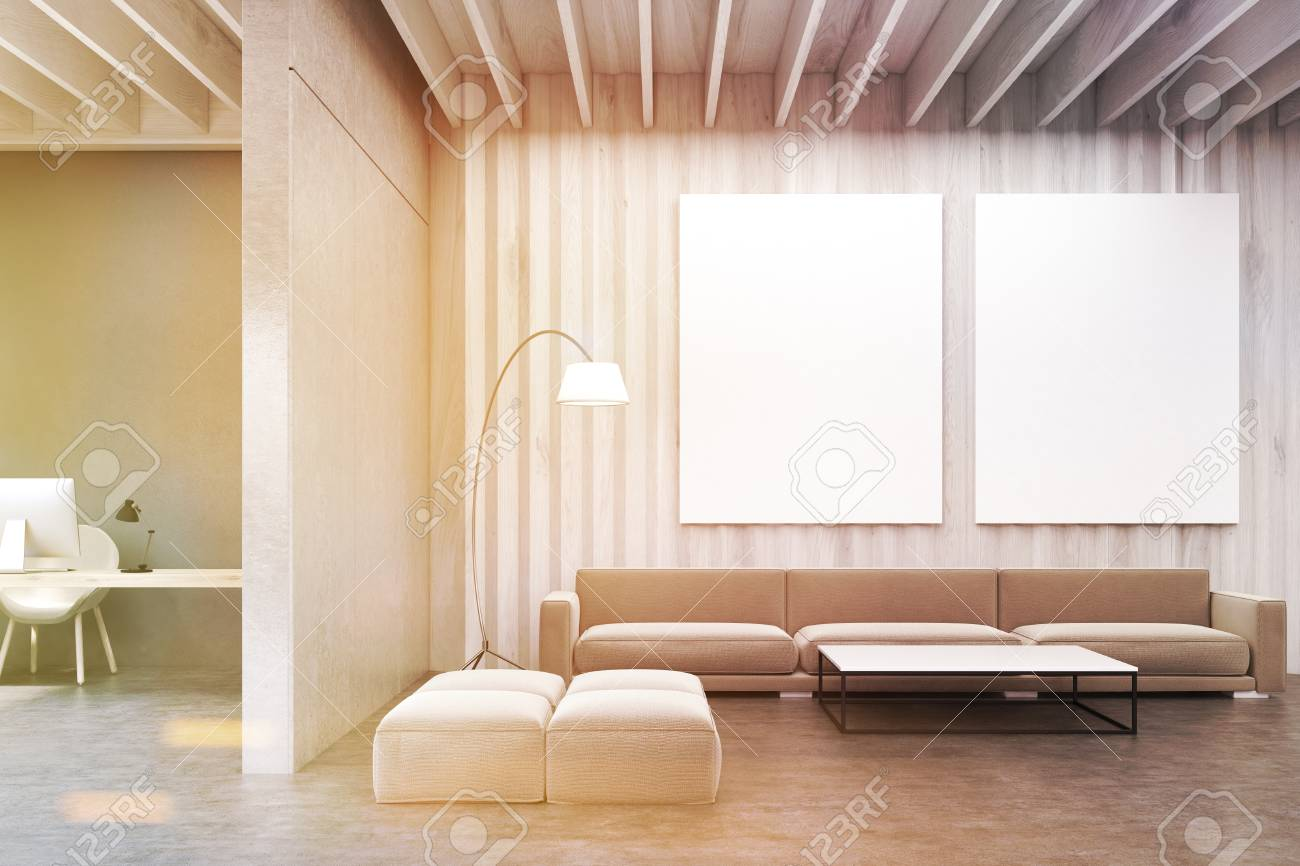 Pareti Beige E Grigio : Immagini stock interno soggiorno con pareti in legno grigio un