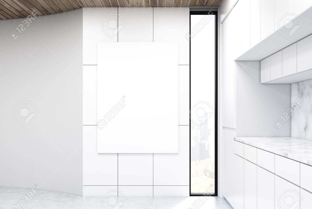 Vertical Poster Is Hanging On A Kitchen Wall. There Is A White ...