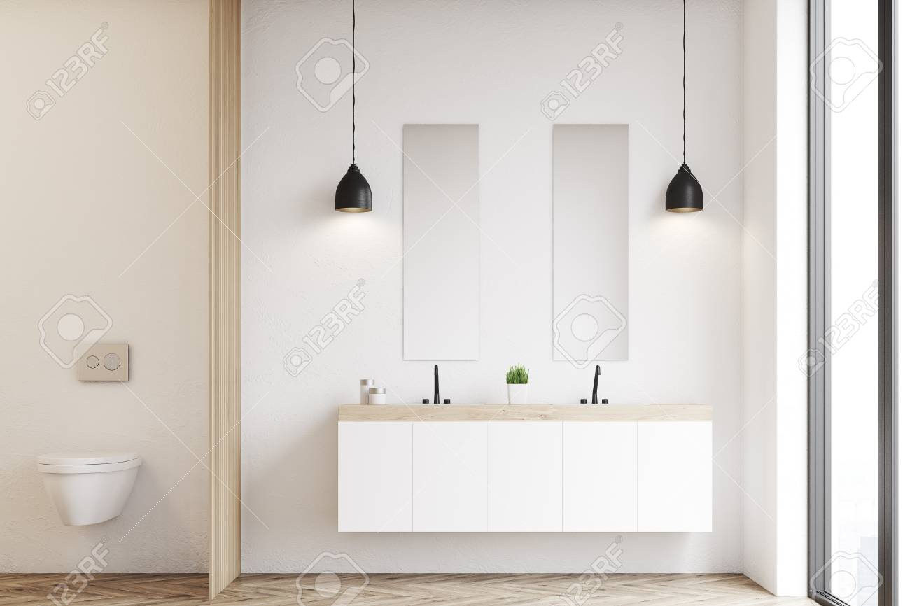 Vista frontale di un moderno bello bagno con wc e un doppio lavandino. La  parete è bianca. Rendering 3D