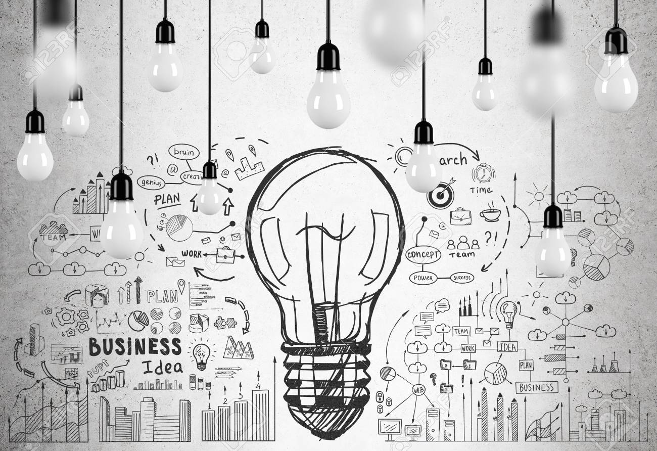 Large Light Bulb Sketch Is Surrounded By Smaller Business Icons Chandelier Wiring Black White Drawn On A Concrete Wall