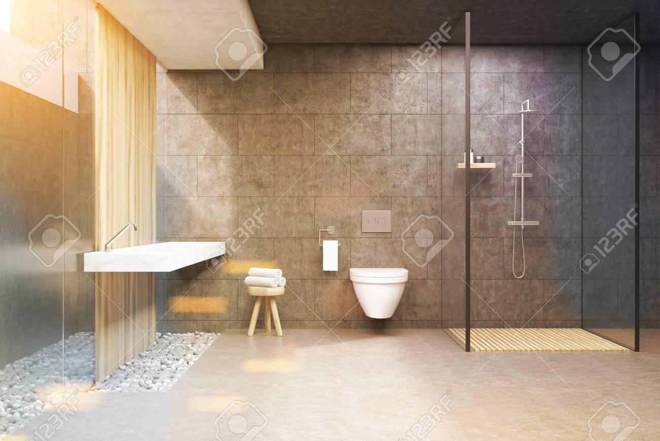 Colonne Murale Salle De Bain Cdiscount ~ int rieur de la salle de bain avec des murs gris une cabine de