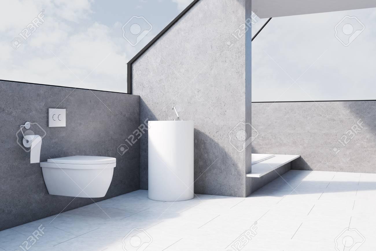 Intérieur de salle de bain gris avec sol en béton, une toilette et une  baignoire encastrée dans le sol. Rendu 3D