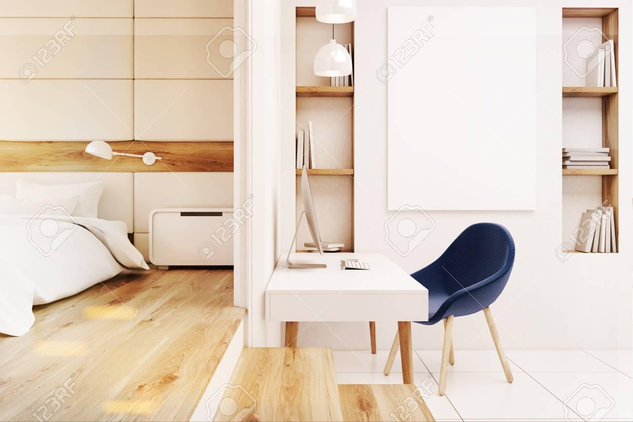 Vue de face dun bureau à domicile dans une chambre avec une table