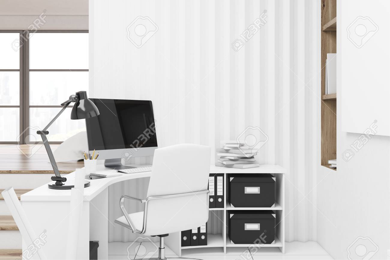 Home Office Interior With A Computer Standing On A White Desk Stock Photo Picture And Royalty Free Image Image 75962178