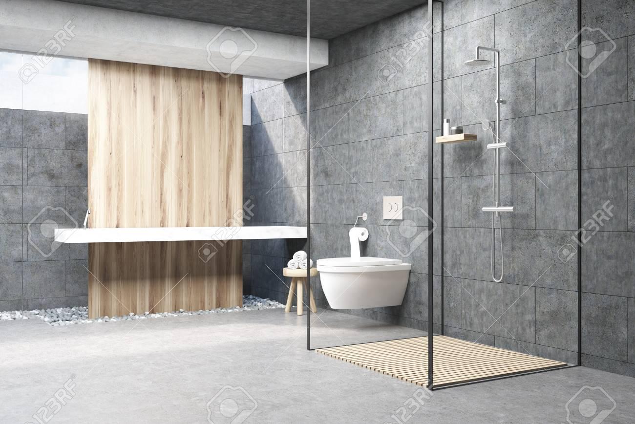 Fantastic Dark Gray Bathroom Interior With A Wooden Panel A Shower With Interior Design Ideas Gresisoteloinfo