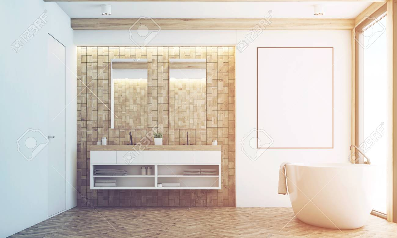 Front View Of A Bathroom With Light Tiles, Two Mirrors, A Double ...