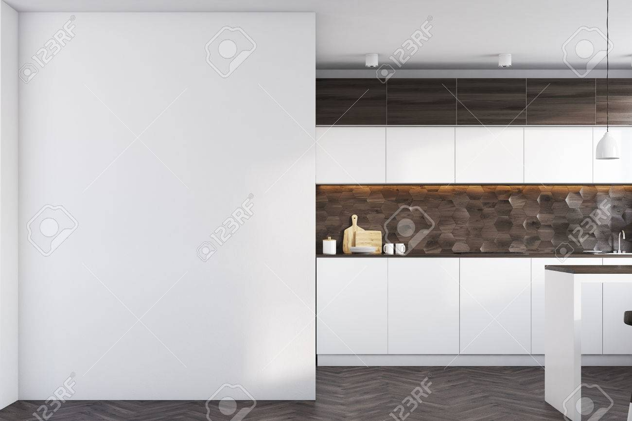 Kitchen Interior With Dark Wooden And White Walls White Countertops