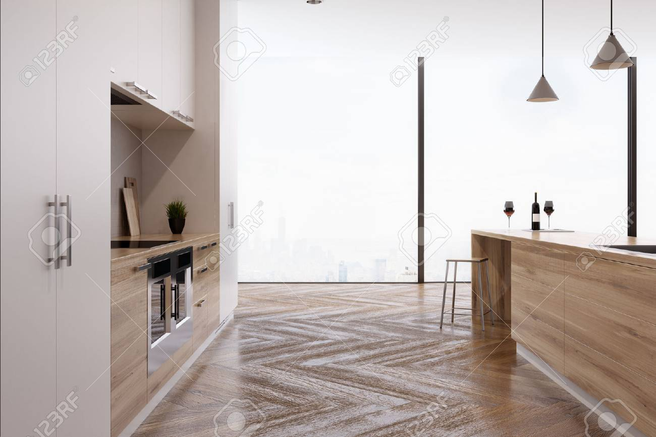 Küche Interieur Mit Zwei Öfen In Hellen Holz-Arbeitsplatten Und Eine ...