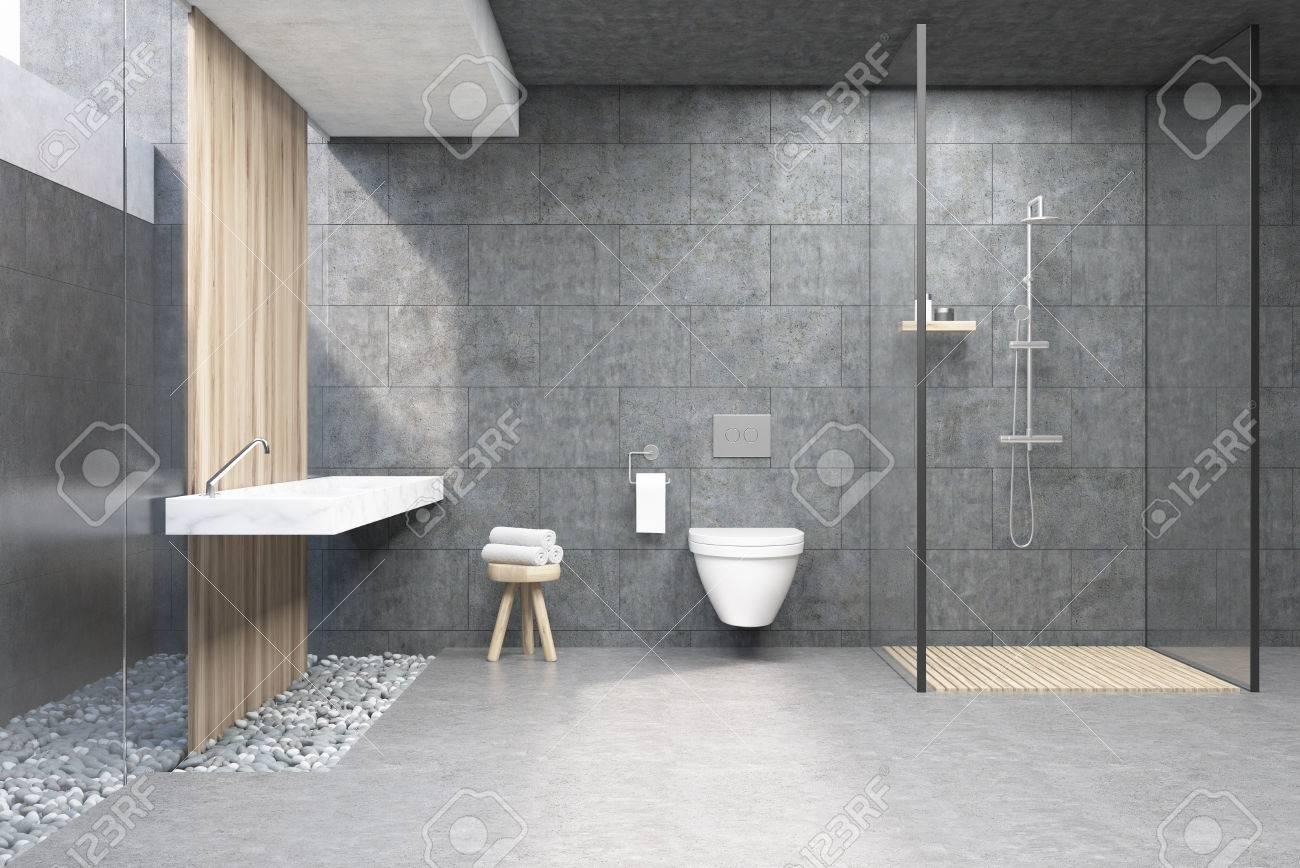 Banque Du0027images   Intérieur De La Salle De Bain Avec Des Murs Gris, Une  Cabine De Douche Avec Paroi En Verre, Une Toilette Et Un Double Lavabo.  Rendu 3D
