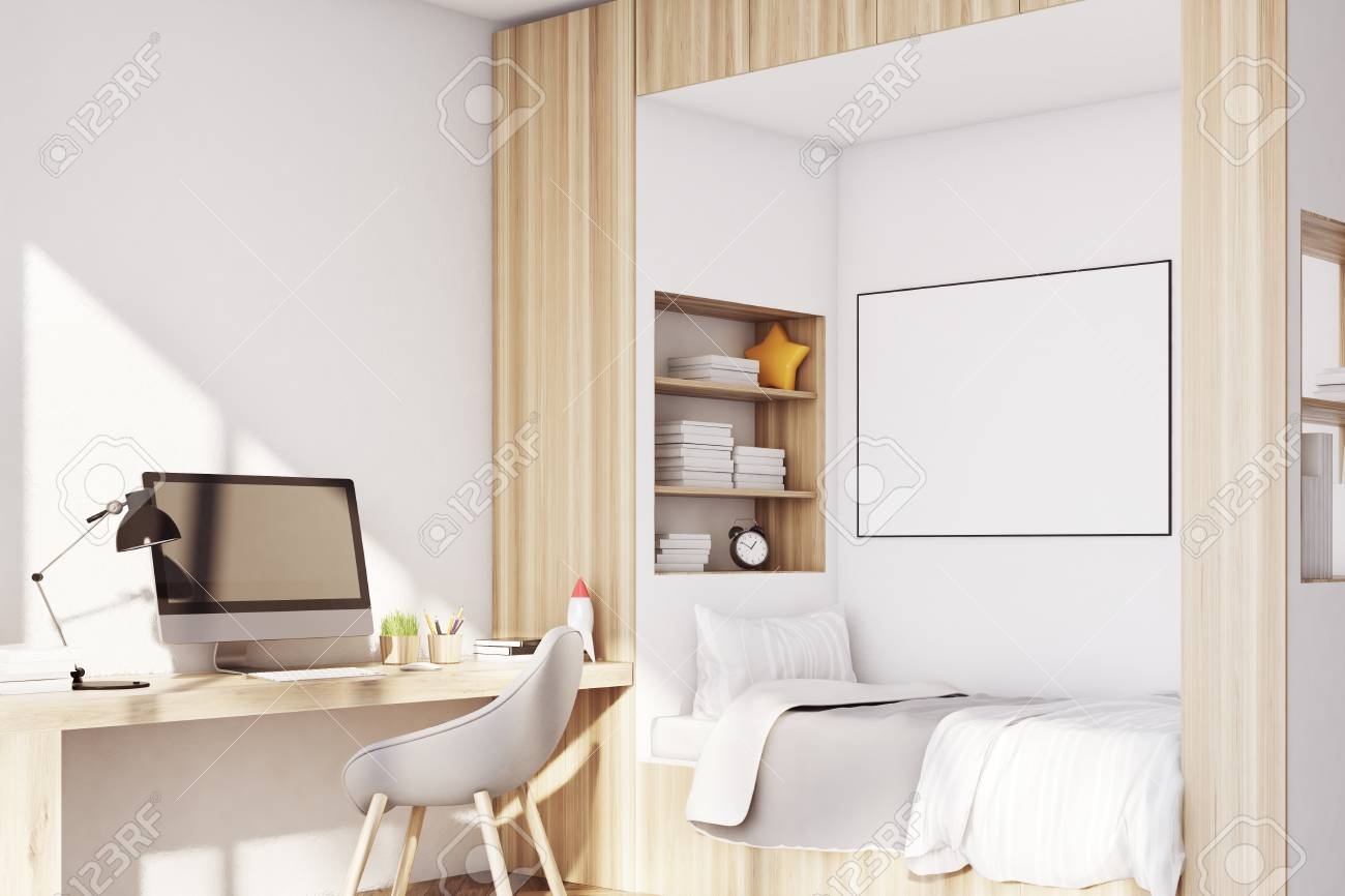 Kids Room Interior With A Computer Table A Bed With A Poster Stock Photo Picture And Royalty Free Image Image 76914784