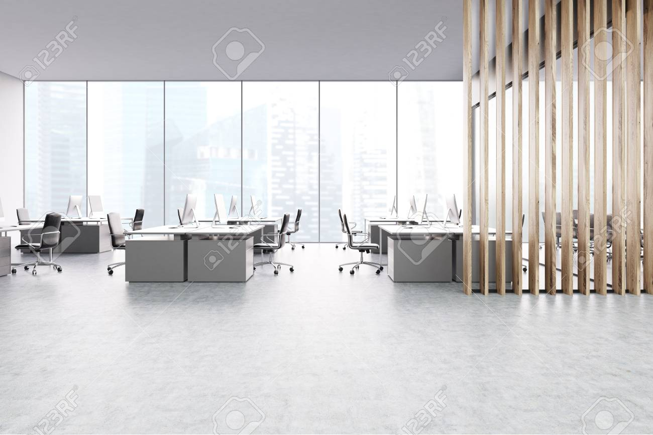 Scrivania Ufficio Grigio : Ufficio aperto grigio con finestre panoramiche tavoli da computer