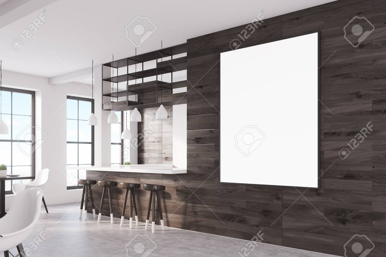 Side View Of A Bar Interior With Dark Wooden Walls, A Bar Counter And A