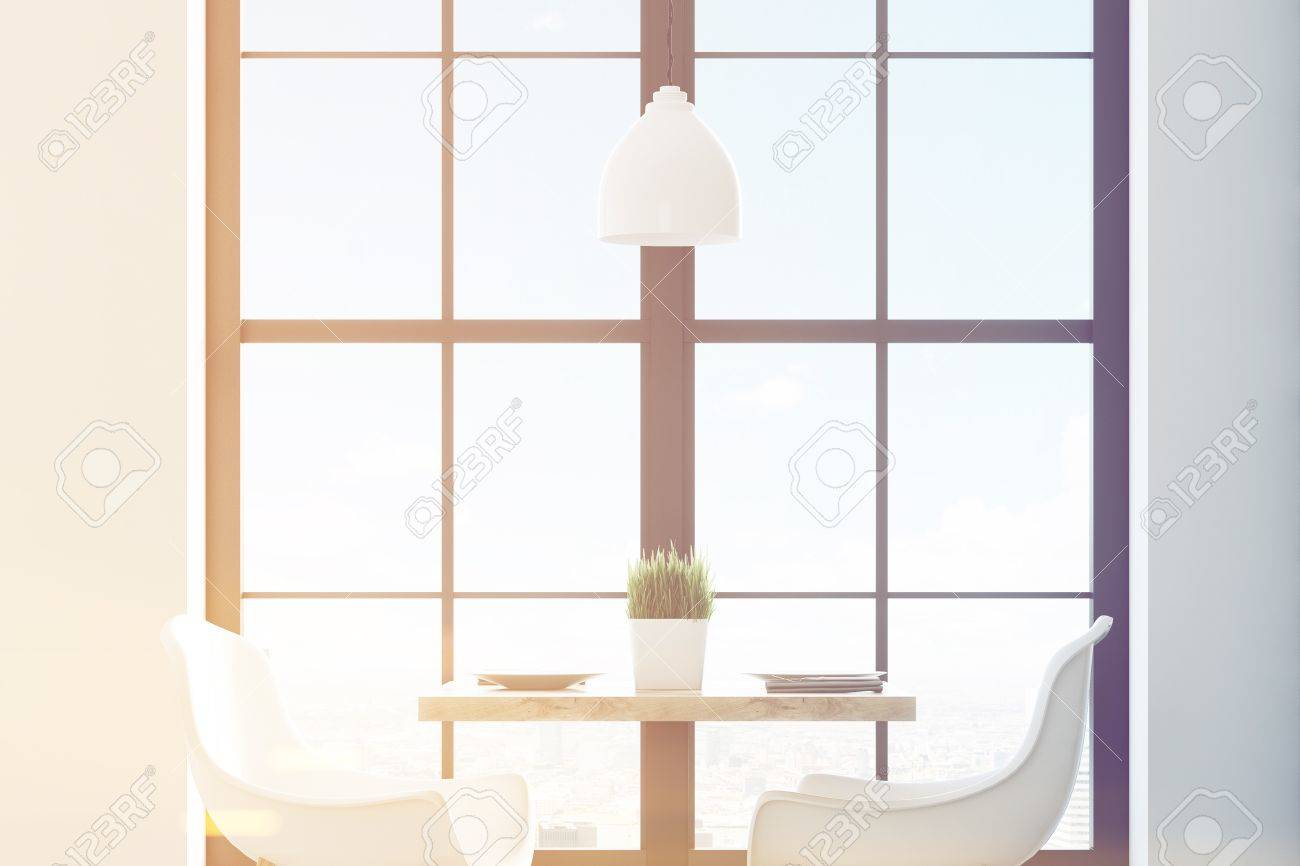Close Up Of A Square Cafe Table With Two White Chairs Standing - Standing cafe table