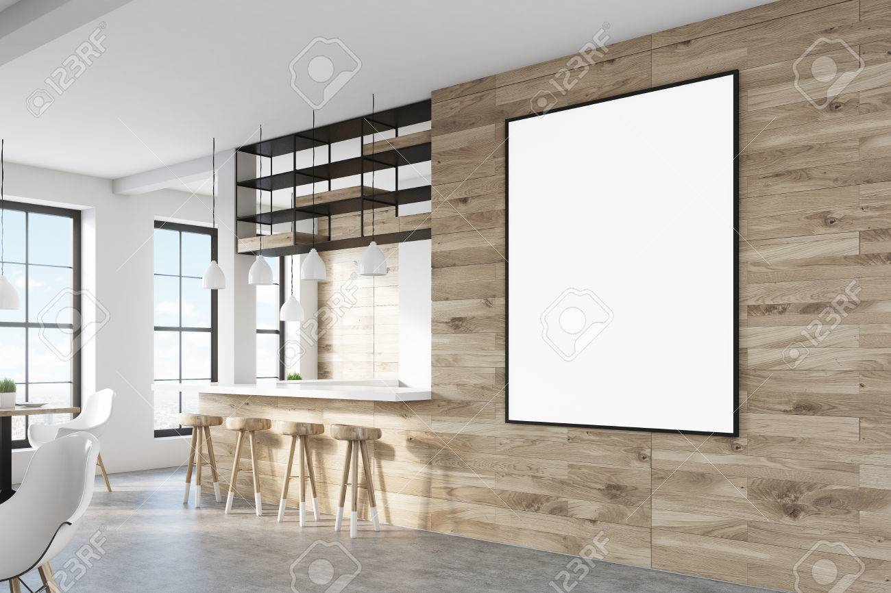 Side View Of A Bar Interior With Light Wooden Walls, A Bar Counter ...